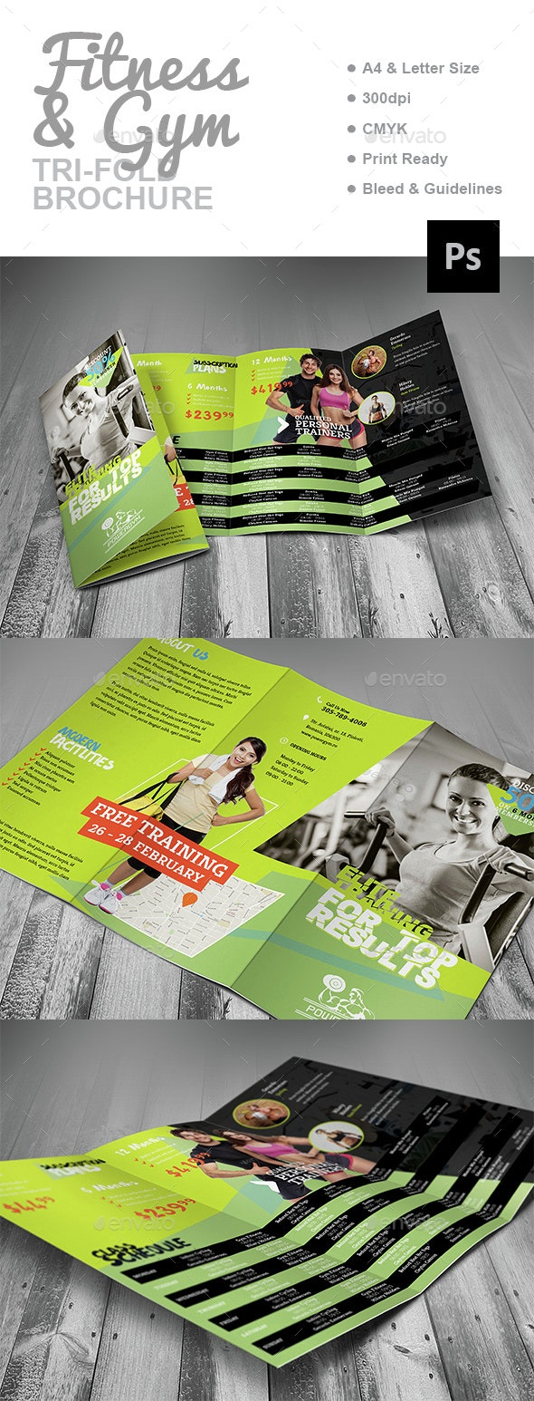 Fitness Gym Trifold Brochure - Corporate Brochures