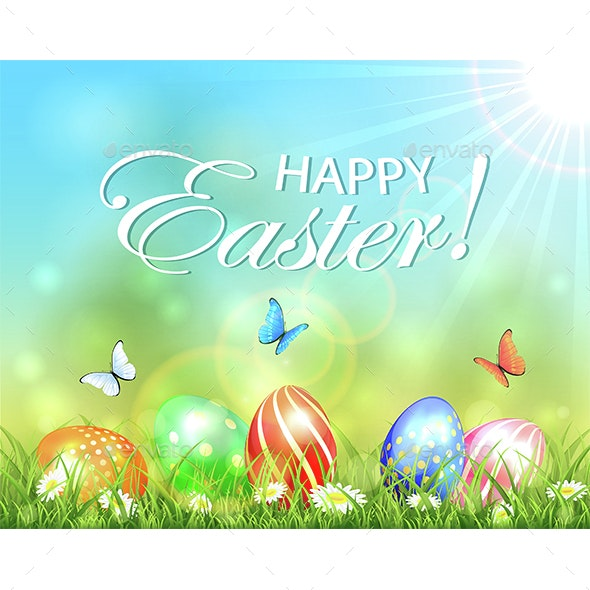 Easter Sunny Background with Eggs in Grass - Miscellaneous Seasons/Holidays