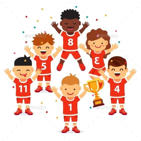 Children Sports Team Wins a Golden Cup - Sports/Activity Conceptual