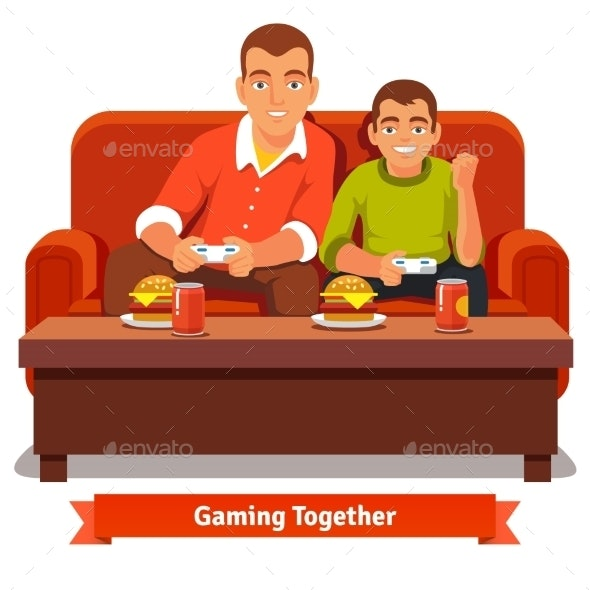 Father and Son Playing Video Games - People Characters