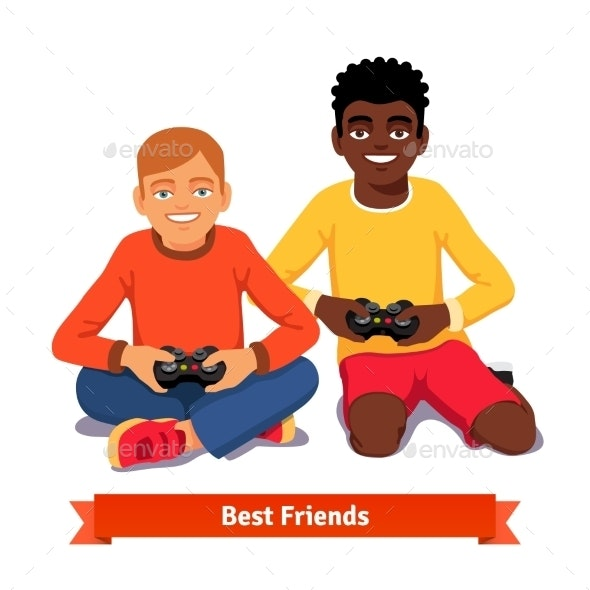 Best Friends Video Gaming Together on The Floor - People Characters