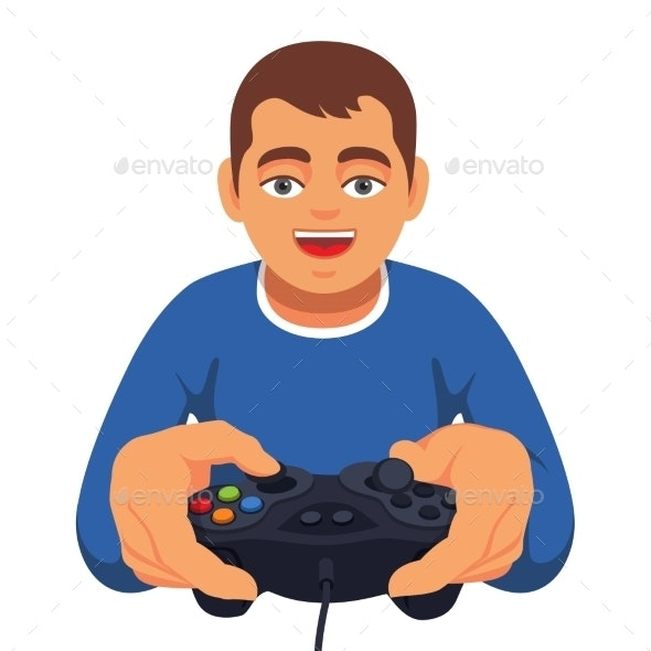 Teen Boy Gaming with Gamepad Controller - People Characters