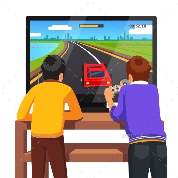 Two Kids Playing Video Games - People Characters