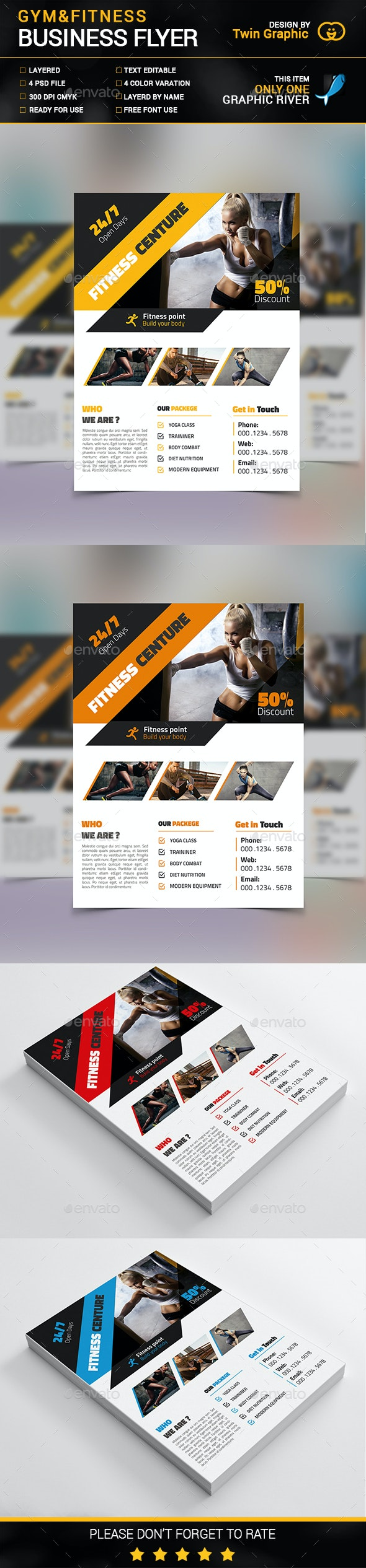 Gym & Fitness Business Flyer Design - Sports Events
