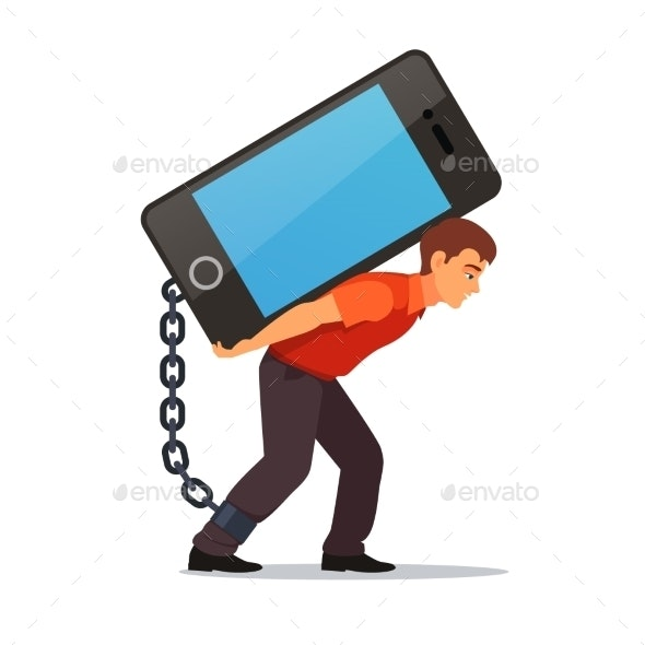Bended Man Carrying Big and Heavy Mobile Phone - People Characters