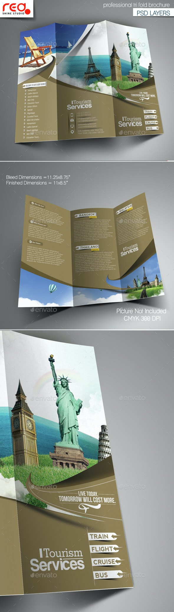 Tourism Service Trifold Brochure Template  - Corporate Brochures