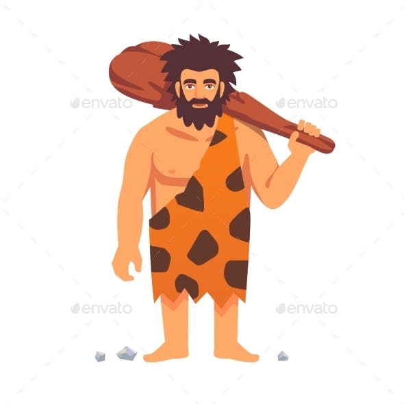 Stone Age Primitive Man in Animal Hide Pelt