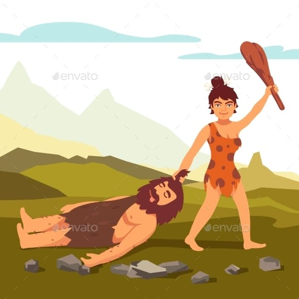 Stone Age Primitive Woman Dragging Bearded Man