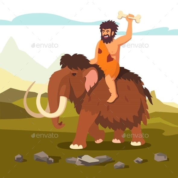Stone Age Primitive Man Riding Mammoth - Animals Characters
