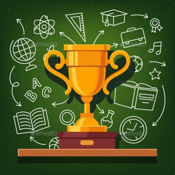 Education Success Golden Cup - Man-made Objects Objects