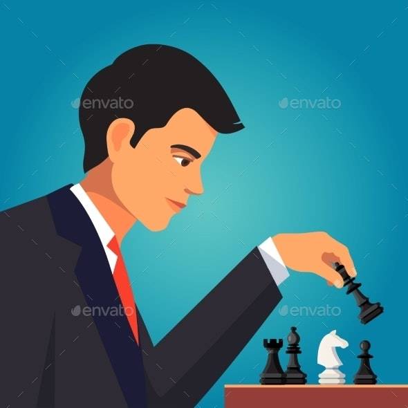 Confident Businessman Playing Chess - People Characters