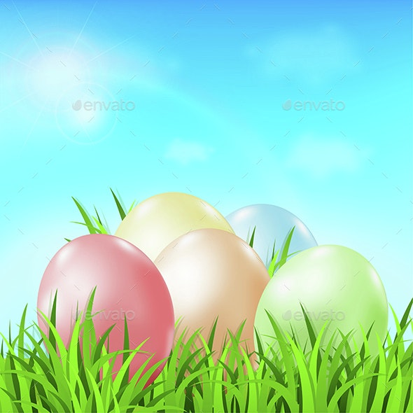 Easter Card with Eggs - Miscellaneous Seasons/Holidays