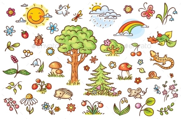 Cartoon Nature Set with Trees Flowers and Berries - Seasons Nature