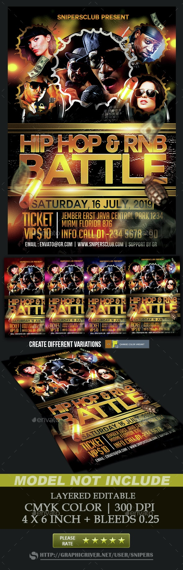 HipHop and Rnb Battle - Events Flyers