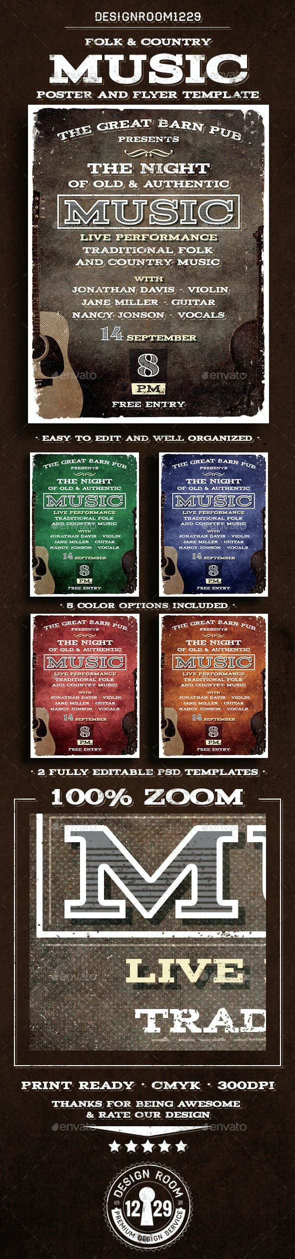 Country Folk Flyer/Poster Template - Events Flyers