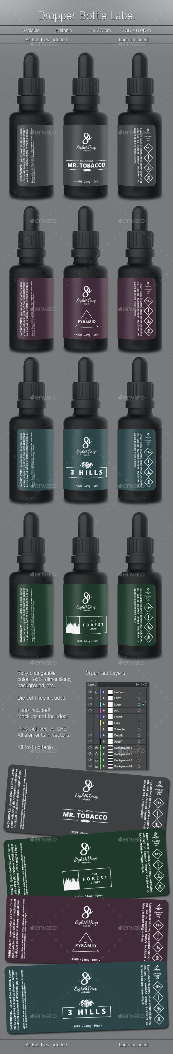 4 Label Design Templates - Packaging Print Templates