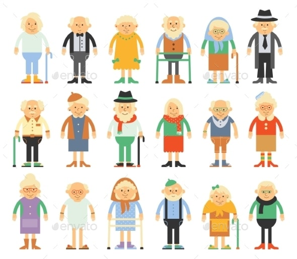 Set of Characters in a Flat Style - People Characters