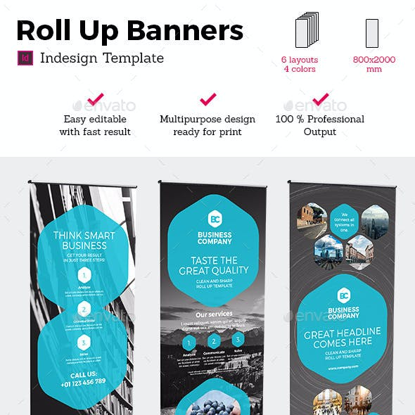 Rollup Stand Banner Display 24x Indesign