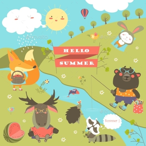 Set of Cartoon Characters and Summer Elements - Animals Characters