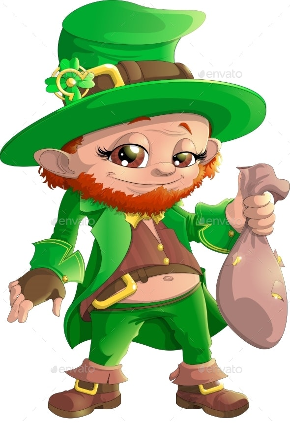 Leprechaun on White Background - Miscellaneous Seasons/Holidays