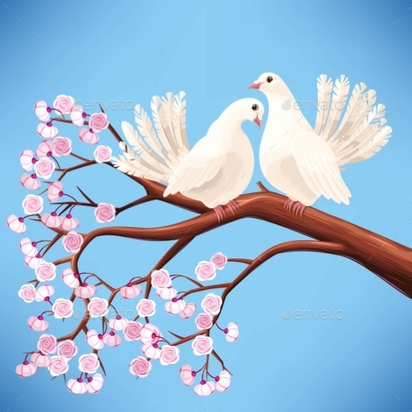Two White Doves on the Branch - Flowers & Plants Nature