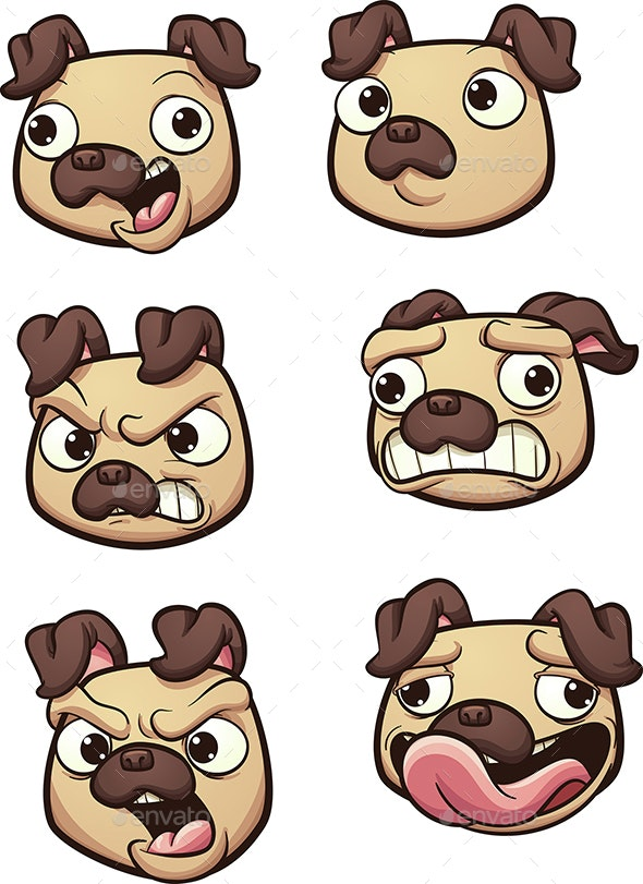 Cartoon Pug - Animals Characters