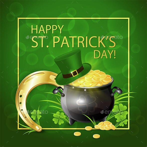 Horseshoe with Gold and Leprechaun Hat on Green Background - Miscellaneous Seasons/Holidays