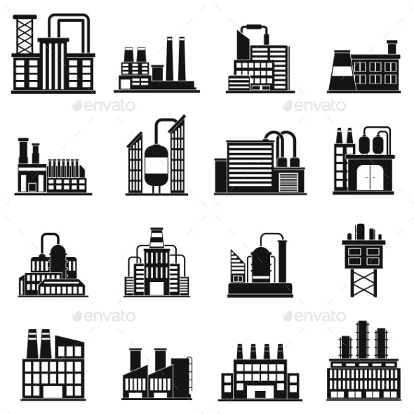 Industrial Building Factory Simple Icons - Miscellaneous Icons