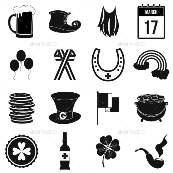 St Patrick Day Black Simple Icons - Miscellaneous Icons