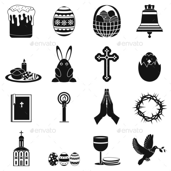 Easter Black Simple Icons - Miscellaneous Icons