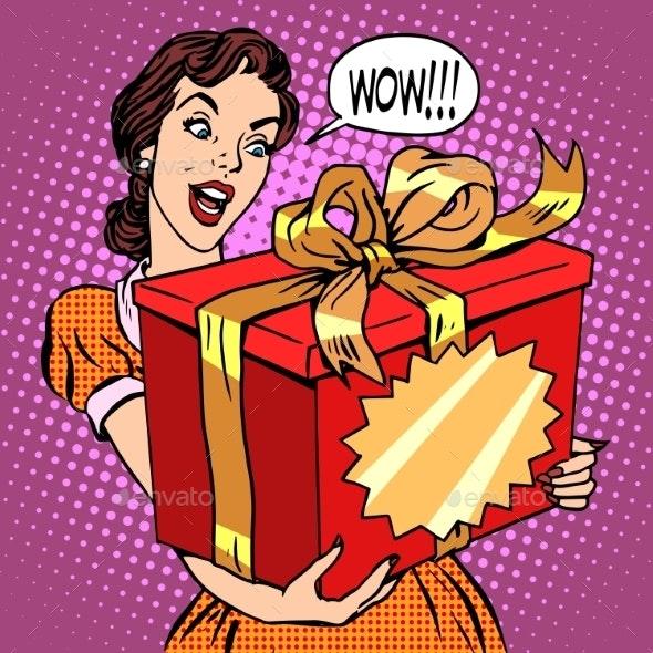 Woman and Big Gift Box - Birthdays Seasons/Holidays
