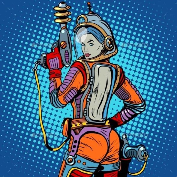 Space Marine Girl Retro Science Fiction