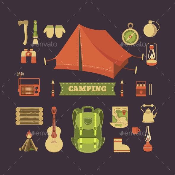 Set of camping - Travel Conceptual