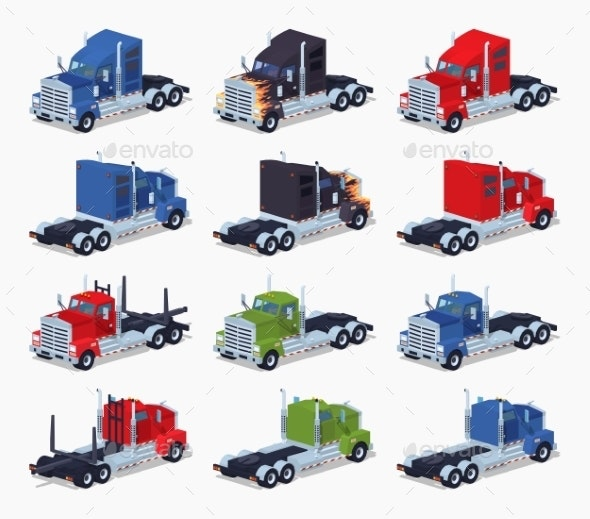 Collection of Heavy Trucks - Man-made Objects Objects