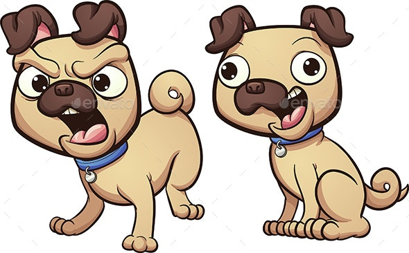 Angry and Happy Dog - Animals Characters