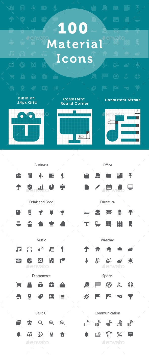 Material Design Glyph Style Icons - Icons