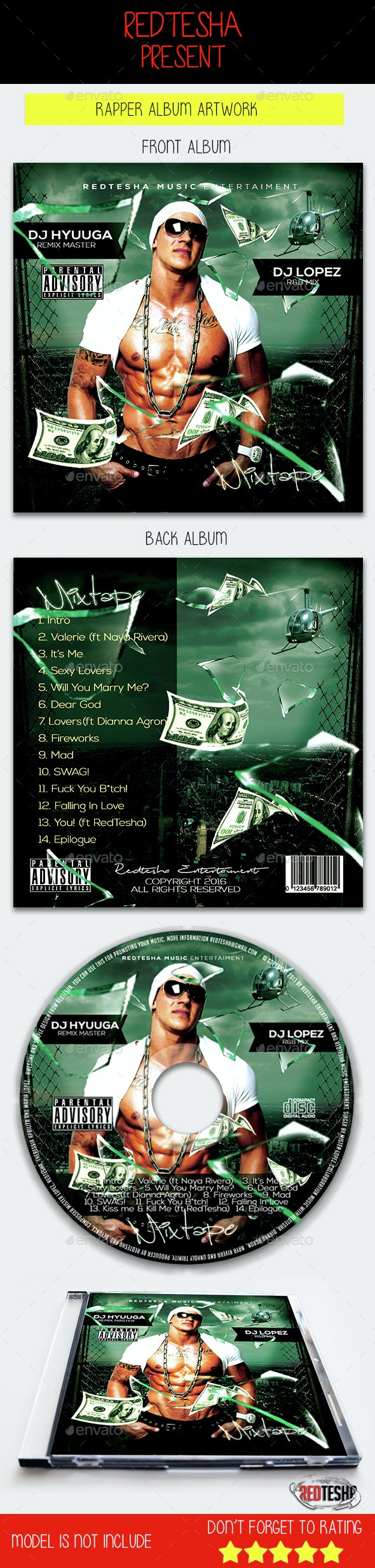 Mixtape CD Template - CD & DVD Artwork Print Templates
