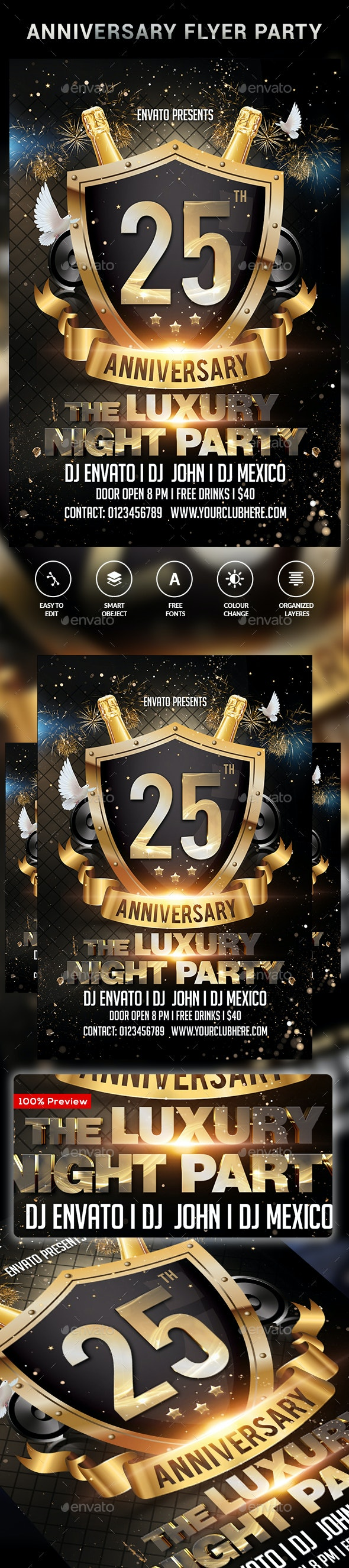 Anniversary Party Flyer - Clubs & Parties Events