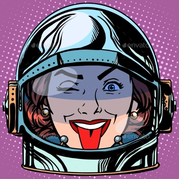 Tongue Emoji Face Woman Astronaut Retro - People Characters