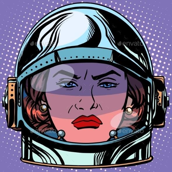 Rage Emoji Face Woman Astronaut Retro - People Characters