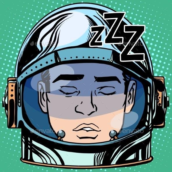 Sleep Emoji Face Man Astronaut Retro