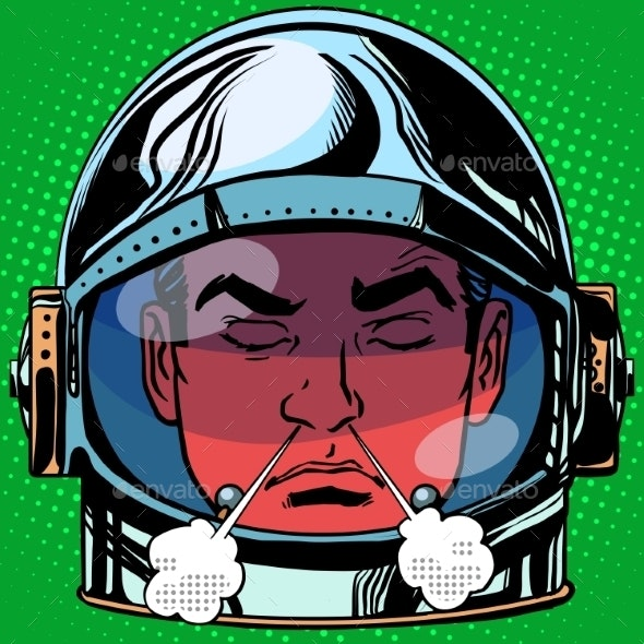 Anger Rage Emoji Face Man Astronaut Retro - People Characters