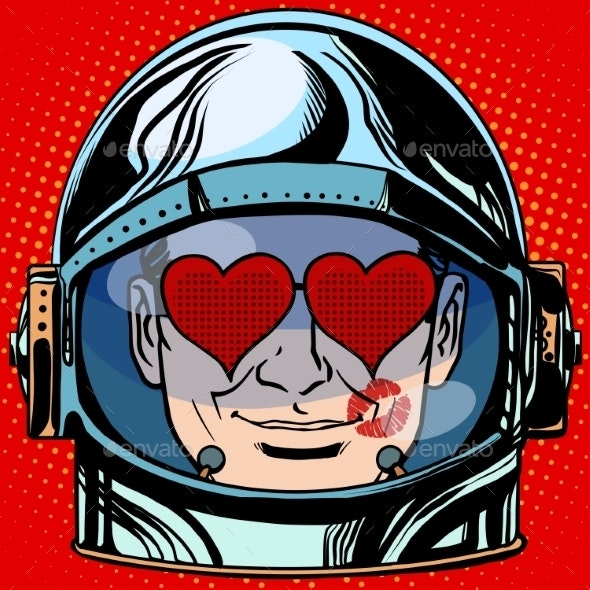 Lover Emoji Face Man Astronaut Retro - People Characters