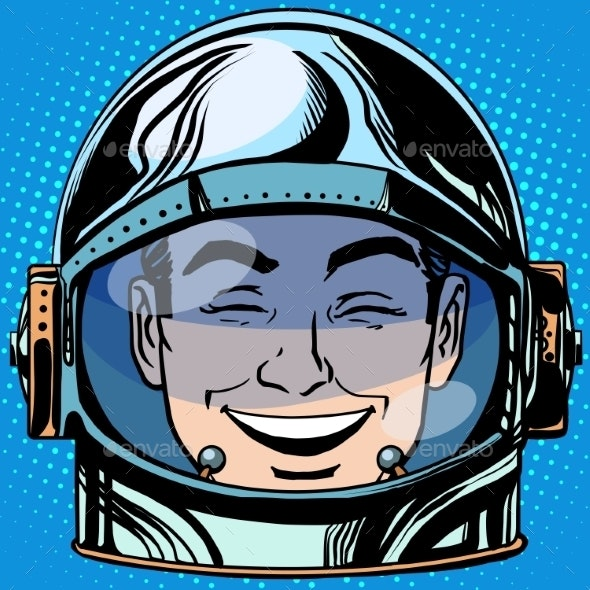 Laughter Emoji Face Man Astronaut Retro - People Characters