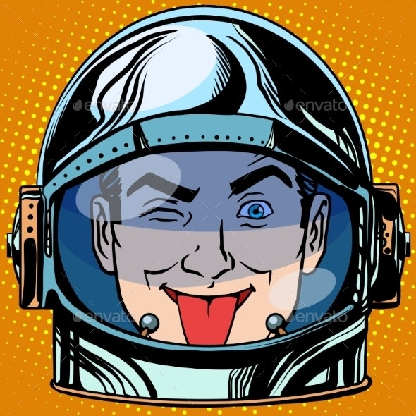 Tongue Emoji Face Man Astronaut Retro - People Characters