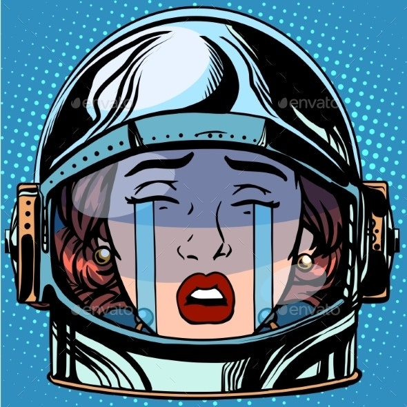 Cry Emoji Face Woman Astronaut Retro - People Characters