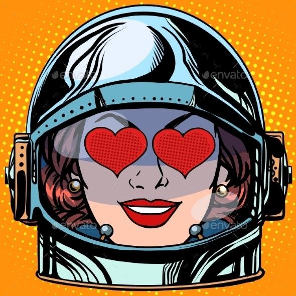 Love Emoji Face Woman Astronaut Retro - People Characters