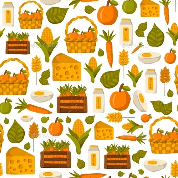 Seamless Farm Products Background - Food Objects