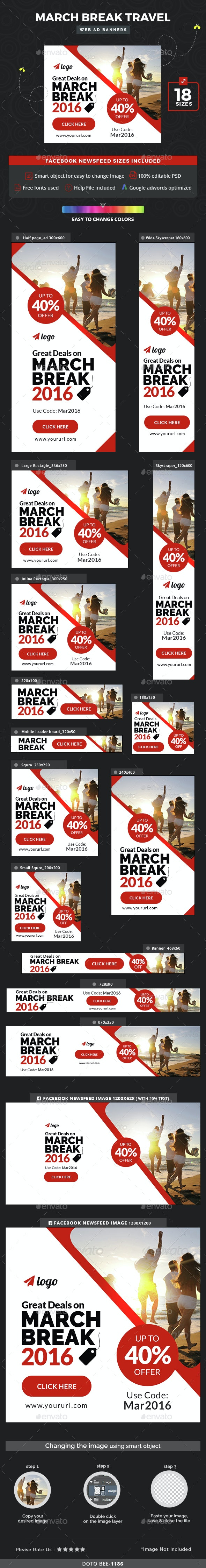 March Break Travel Banners - Banners & Ads Web Elements