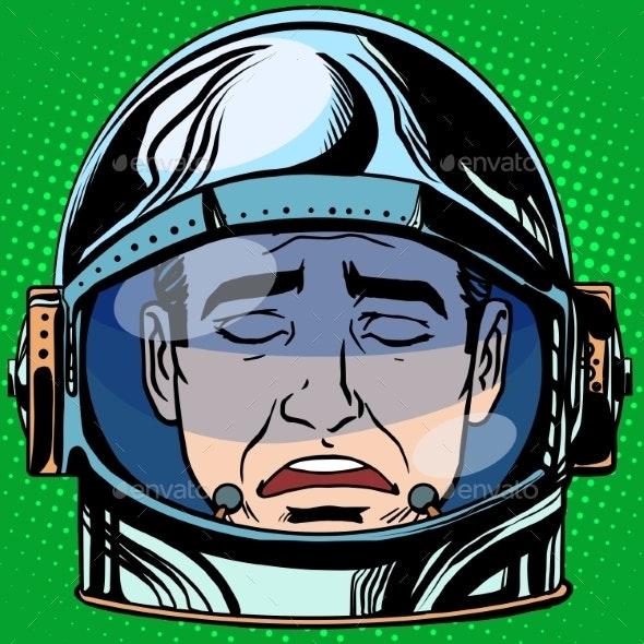 Sadness Emoji Face Man Astronaut Retro - People Characters